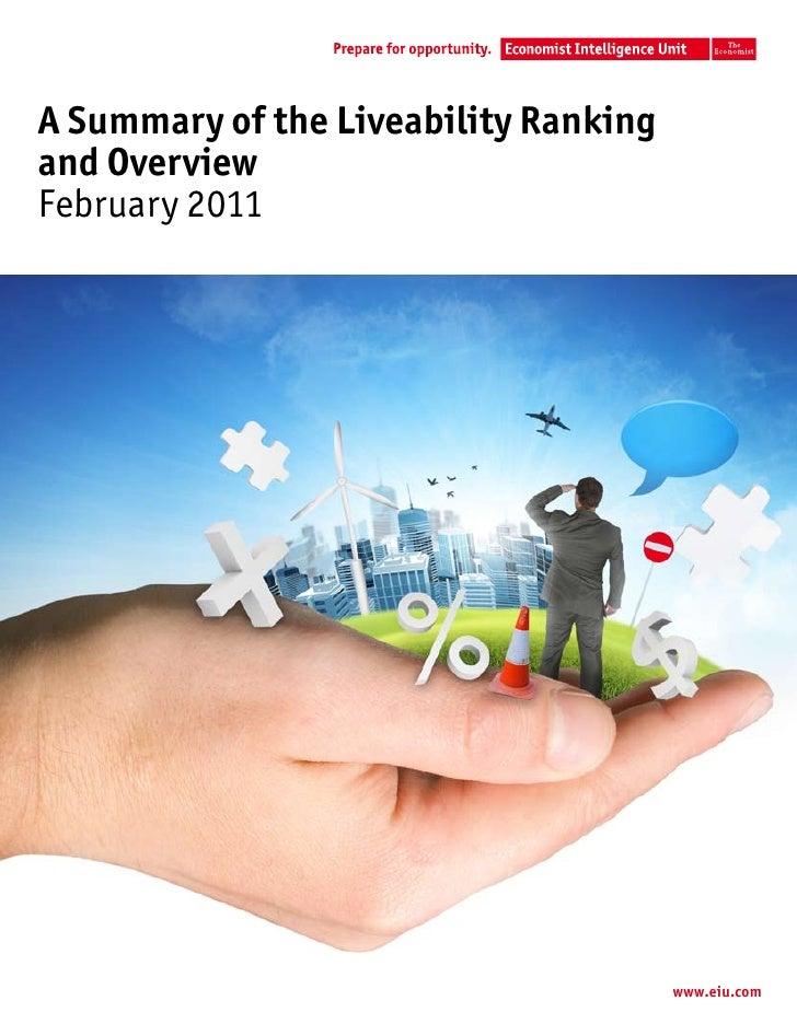 A Summary of the Liveability Rankingand OverviewFebruary 2011                                       www.eiu.com