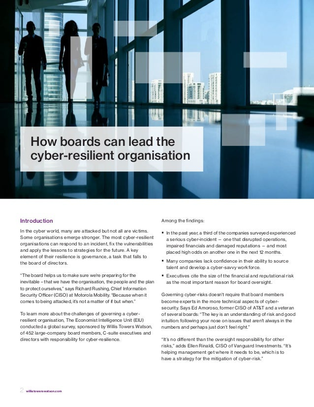 How boards can lead the cyber-resilient organisation  Slide 2