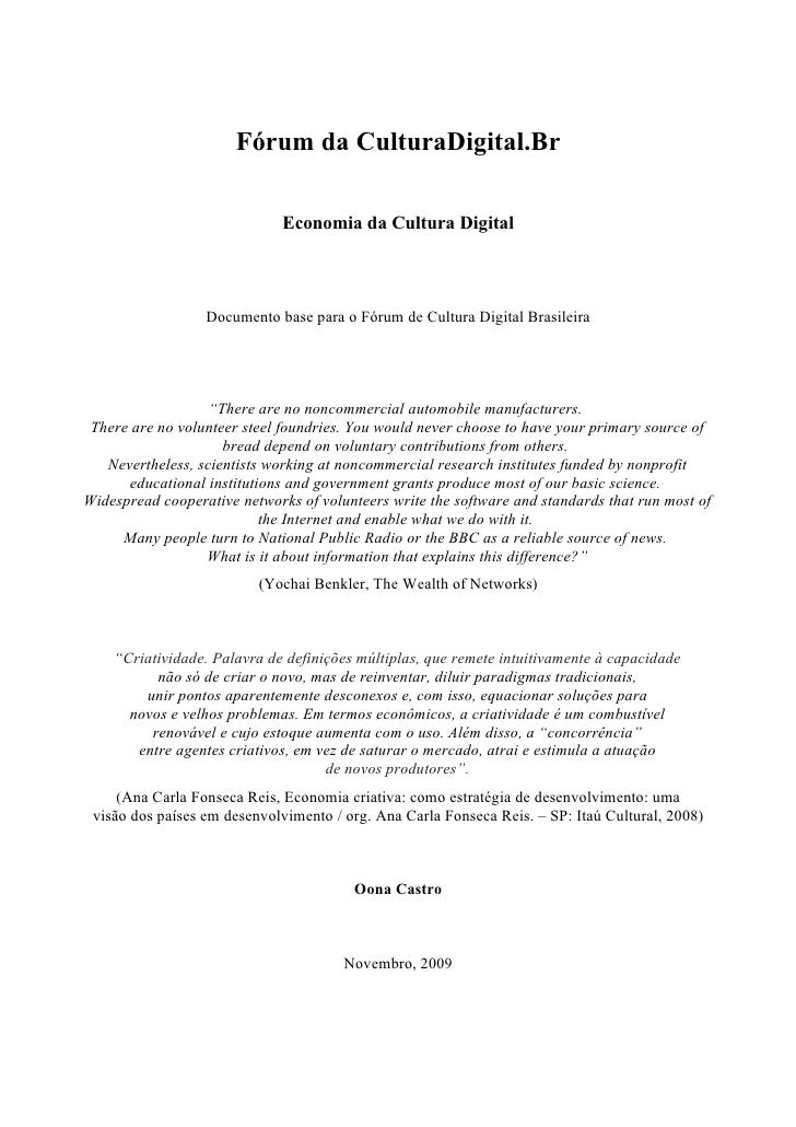 Fórum da CulturaDigital.Br                                Economia da Cultura Digital                      Documento base ...
