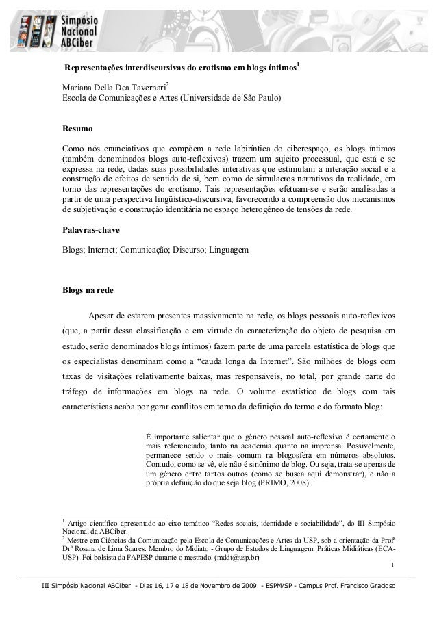 III Simpósio Nacional ABCiber - Dias 16, 17 e 18 de Novembro de 2009 - ESPM/SP - Campus Prof. Francisco Gracioso1Represent...