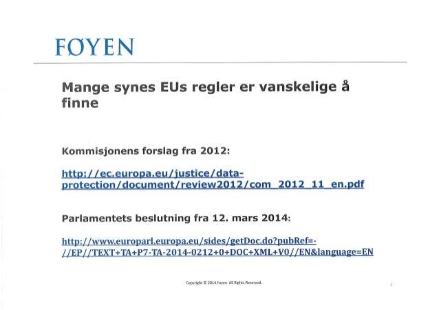 Nye personvernregler fra EU Slide 2