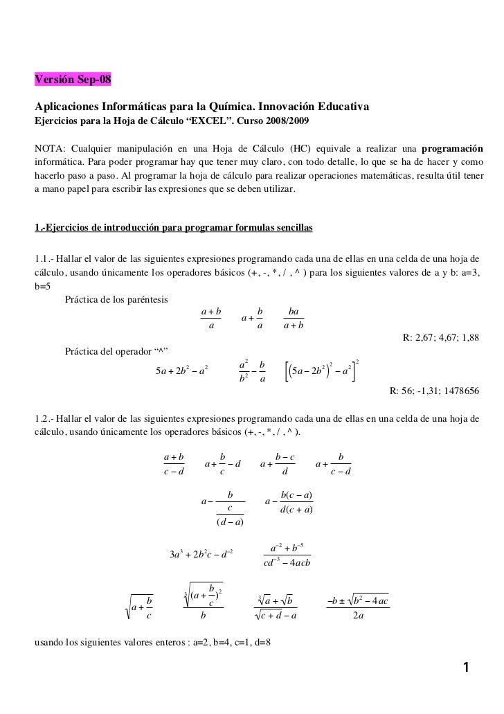"""Versión Sep-08Aplicaciones Informáticas para la Química. Innovación EducativaEjercicios para la Hoja de Cálculo """"EXCEL"""". C..."""