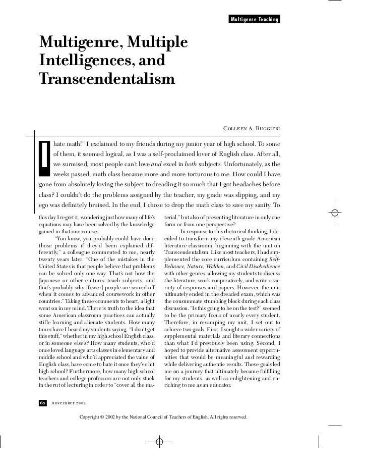 Multigenre TeachingMultigenre, MultipleIntelligences, andTranscendentalism                                                ...