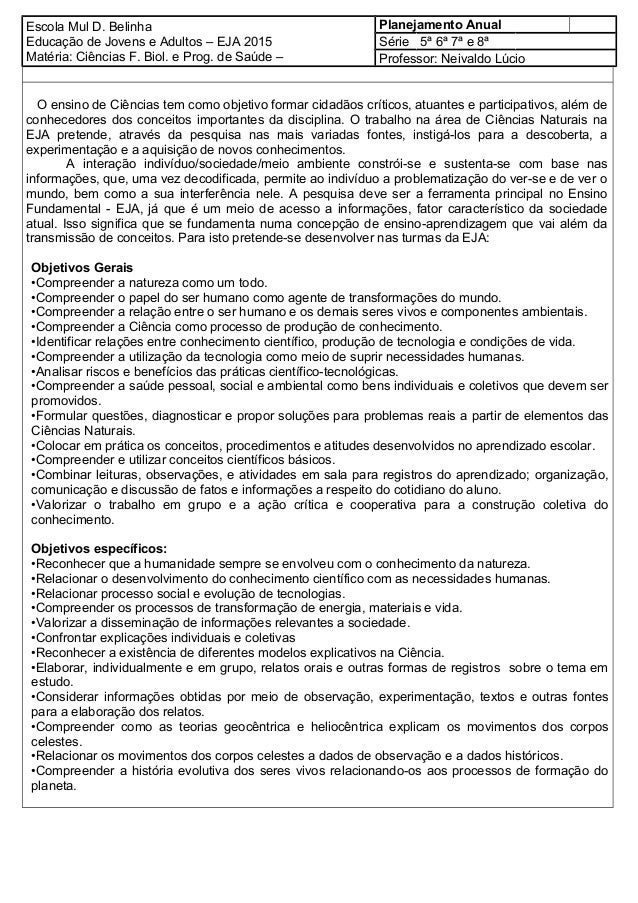 Escola Mul D. Belinha Educação de Jovens e Adultos – EJA 2015 Matéria: Ciências F. Biol. e Prog. de Saúde – Planejamento A...