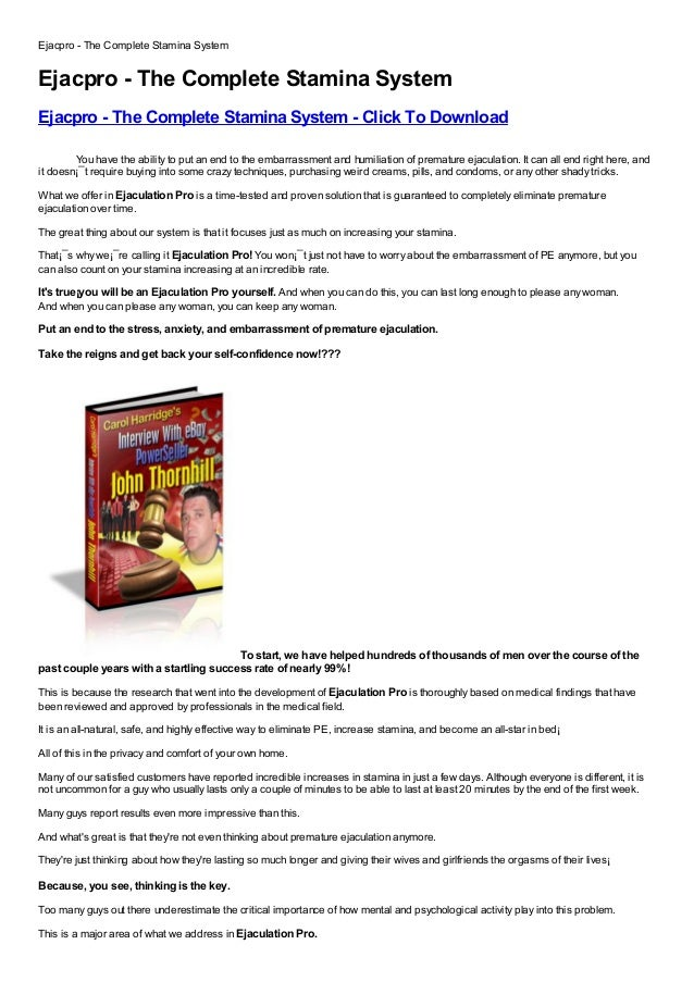 Ejacpro - The Complete Stamina SystemEjacpro - The Complete Stamina SystemEjacpro - The Complete Stamina System - Click To...