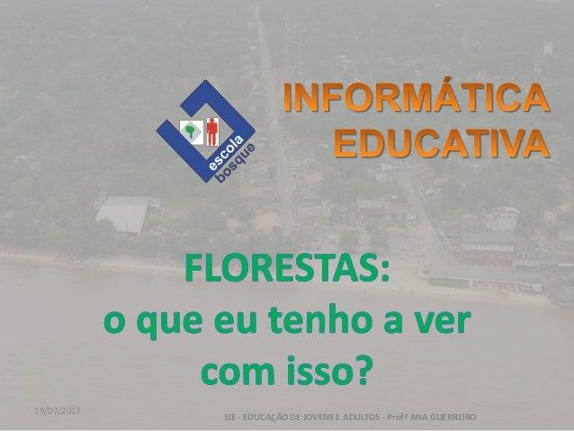 19/07/2017 SIE - EDUCAÇÃO DE JOVENS E ADULTOS - Profª ANA GUERREIRO