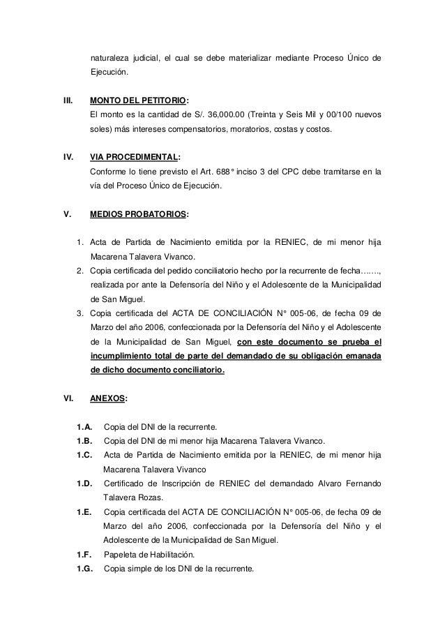 Ejecución de acta de conciliación extrajudicial