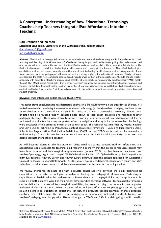 ISSN 1479-4403 122 ©ACPIL Reference this paper: Drennan, G., and Moll, I., 2018. A Conceptual Understanding of how Educati...