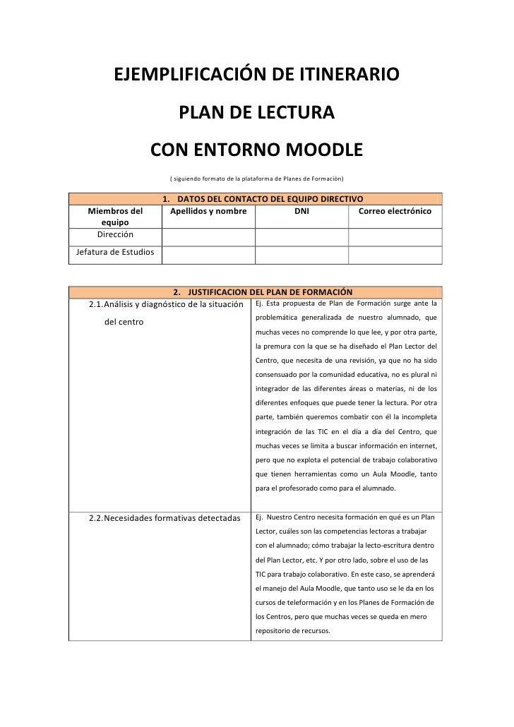 EJEMPLIFICACIÓN DE ITINERARIO                            PLAN DE LECTURA                    CON ENTORNO MOODLE            ...