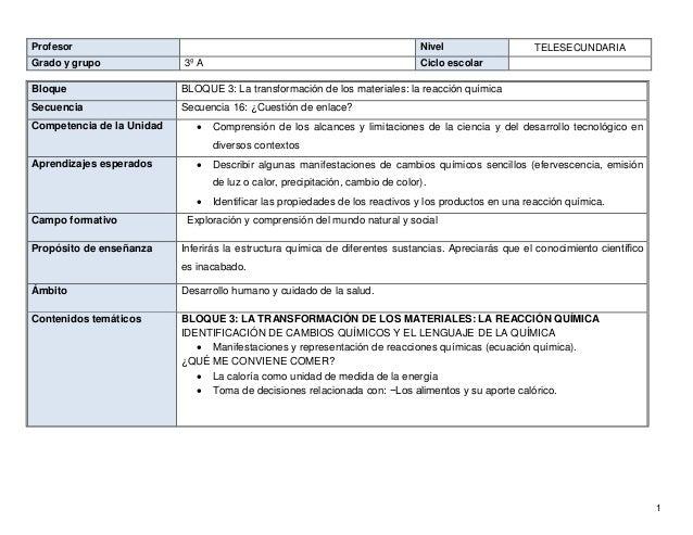 1 Profesor Nivel TELESECUNDARIA Grado y grupo 3º A Ciclo escolar Bloque BLOQUE 3: La transformación de los materiales: la ...