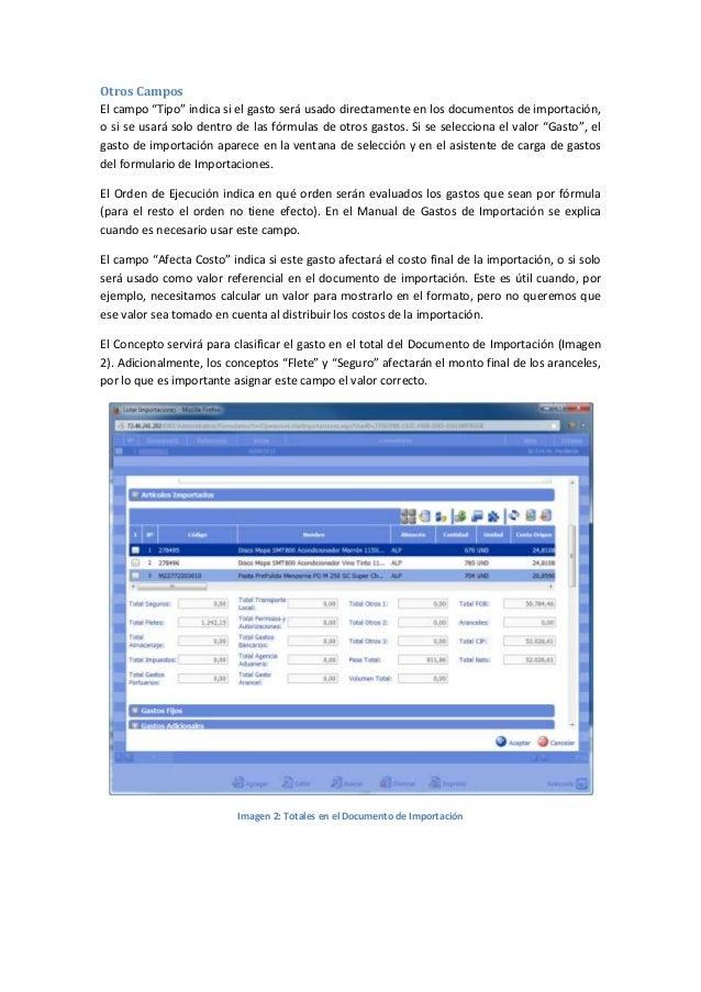 Costos y Gastos de Importaciones: Ejemplo de cómo crear un gasto de importación en eFactory ERP/CRM Slide 2