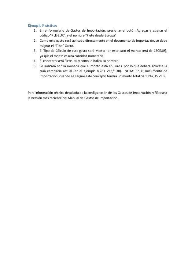 Costos y Gastos de Importaciones: Ejemplo de cómo crear un gasto de importación en eFactory ERP/CRM Slide 3
