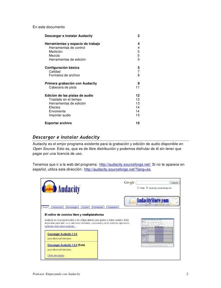 En este documento         Descargar e instalar Audacity                          2         Herramientas y espacio de traba...