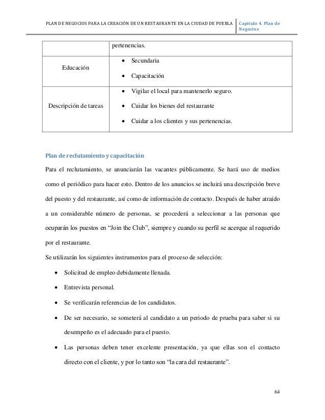 Ejemplo De Un Plan De Negocios De Un Restaurante