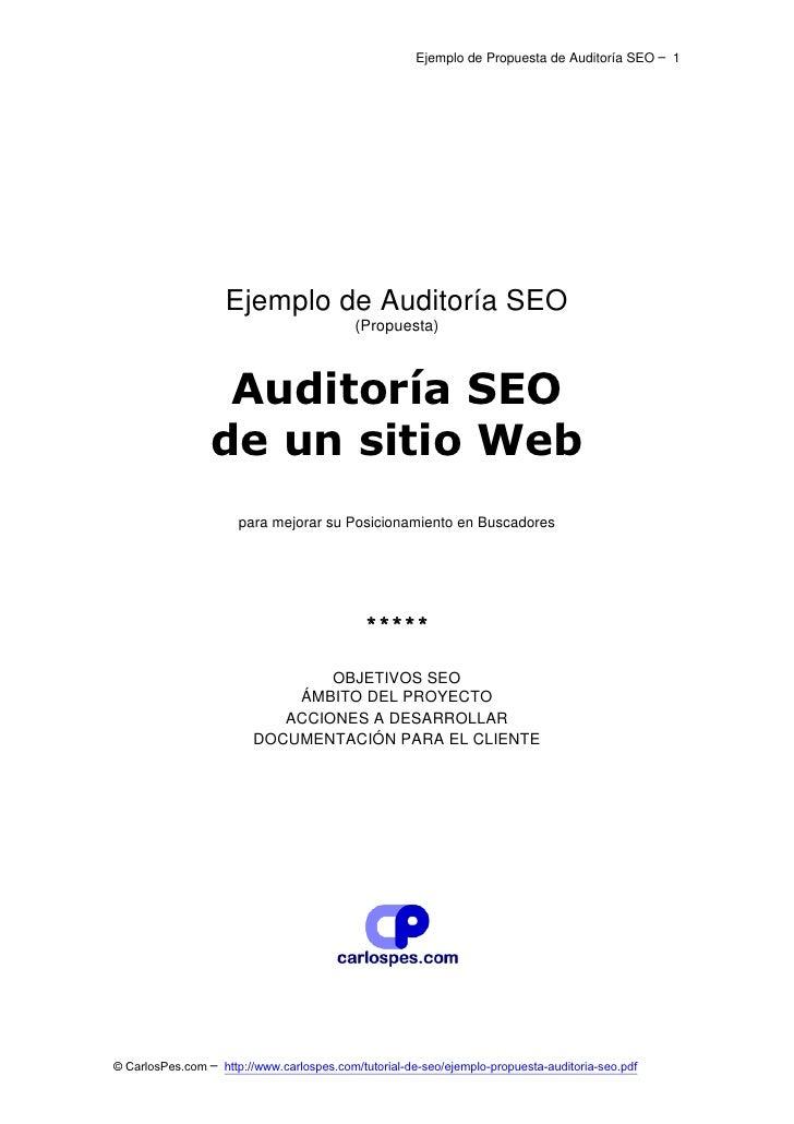 Ejemplo de Propuesta de Auditoría SEO ─ 1                    Ejemplo de Auditoría SEO                                     ...