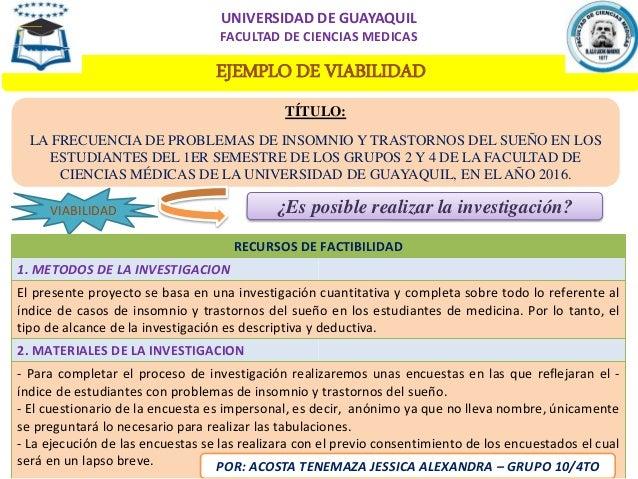 EJEMPLO DE VIABILIDAD TÍTULO: LA FRECUENCIA DE PROBLEMAS DE INSOMNIO Y TRASTORNOS DEL SUEÑO EN LOS ESTUDIANTES DEL 1ER SEM...