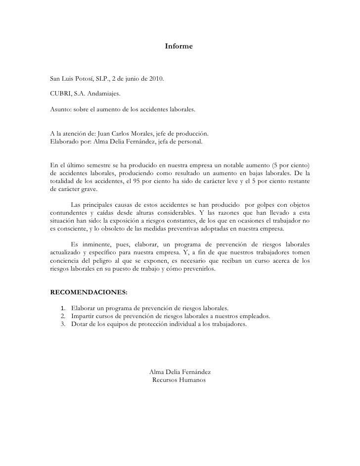 InformeSan Luis Potosí, SLP., 2 de junio de 2010.CUBRI, S.A. Andamiajes.Asunto: sobre el aumento de los accidentes laboral...