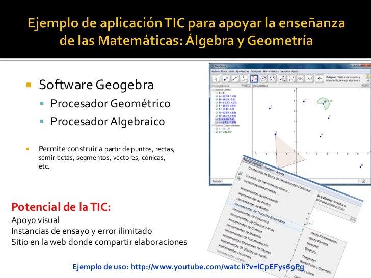    Software Geogebra        Procesador Geométrico        Procesador Algebraico      Permite construir a partir de punt...