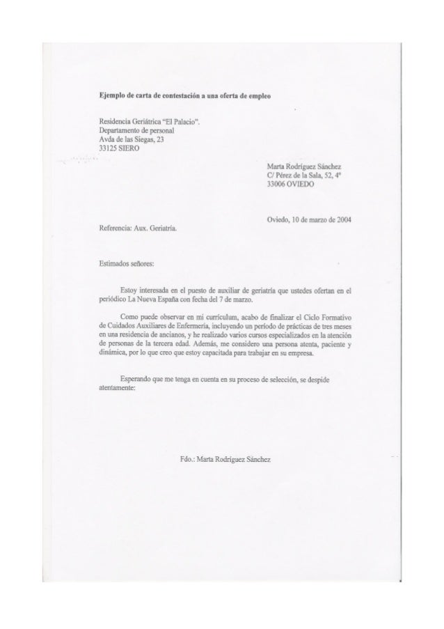 Ejemplo carta contestaci n oferta empleo for Ina virtual de empleo