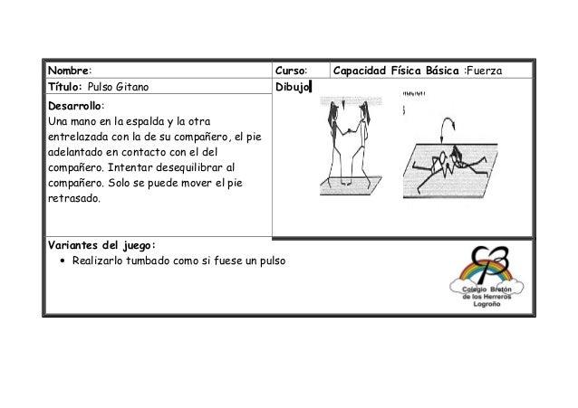 Nombre: Curso: Capacidad Física Básica :Fuerza Título: Pulso Gitano Dibujo Desarrollo: Una mano en la espalda y la otra en...
