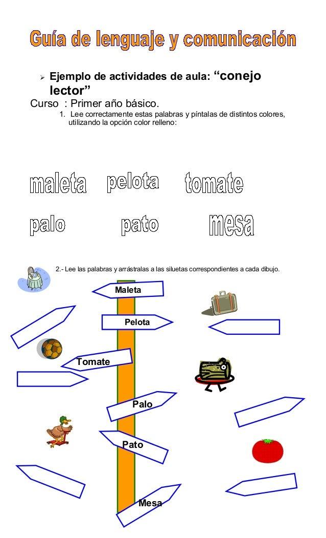""" Ejemplo de actividades de aula: """"conejo lector"""" Curso : Primer año básico. 1. Lee correctamente estas palabras y píntala..."""