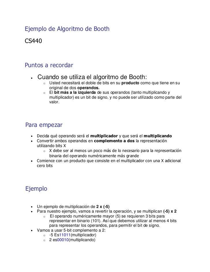 Ejemplo de Algoritmo de Booth<br />CS440<br />Puntos a recordar<br />Cuando se utiliza el algoritmo de Booth:<br />Usted...
