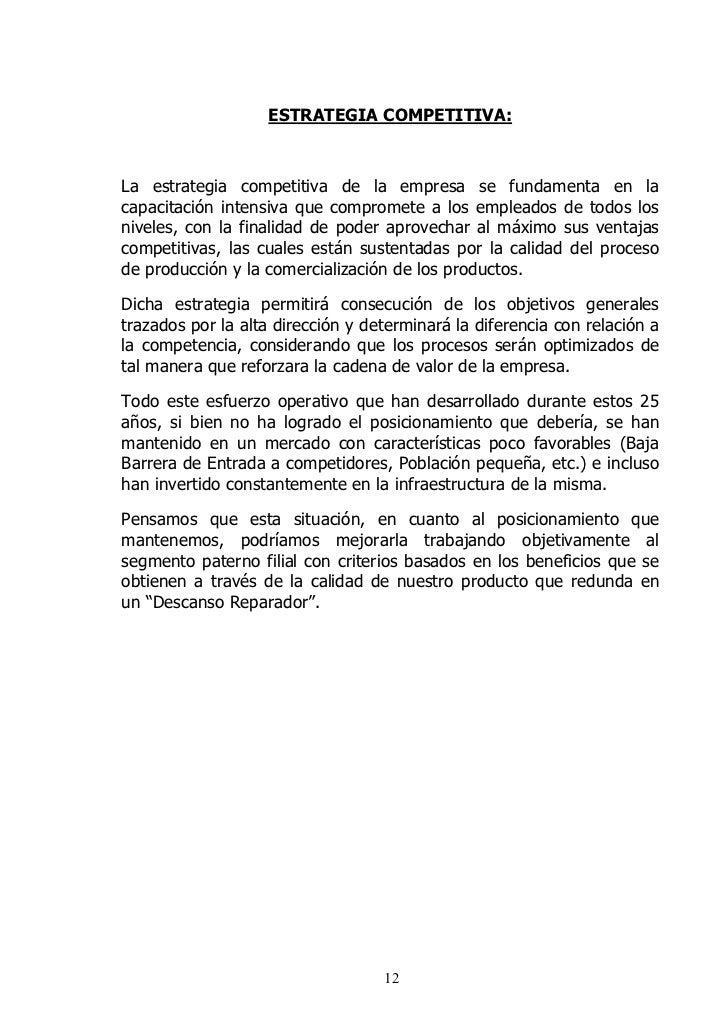ESTRATEGIA COMPETITIVA:    La estrategia competitiva de la empresa se fundamenta en la capacitación intensiva que comprome...