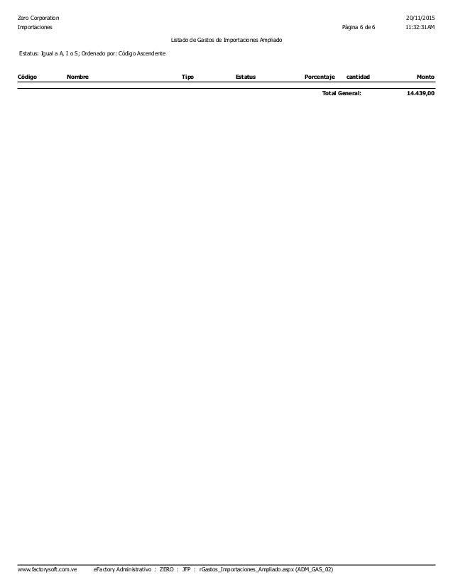 Zero Corporation 20/11/2015 11:32:31AMPágina 6 de 6Importaciones Listado de Gastos de Importaciones Ampliado Estatus: Igua...