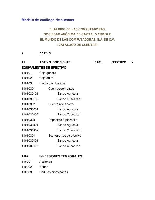 Modelo de catálogo de cuentasEL MUNDO DE LAS COMPUTADORAS,SOCIEDAD ANÓNIMA DE CAPITAL VARIABLEEL MUNDO DE LAS COMPUTADORAS...