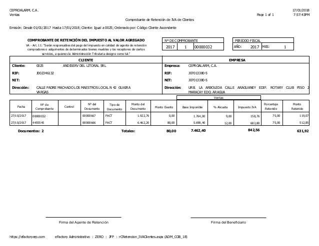 CEPROALARM, C.A. 17/01/2018 7:57:43PMPage 1 of 1Ventas Comprobante de Retenci�n de IVA de Clientes Emisi�n: Desde 01/01/20...