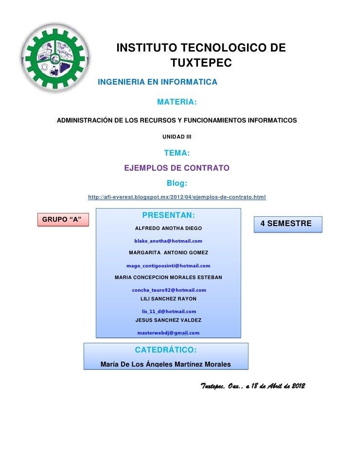 INSTITUTO TECNOLOGICO DE                              TUXTEPEC               INGENIERIA EN INFORMATICA                    ...
