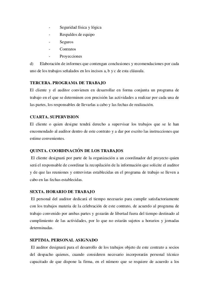 Ejemplo De Contrato De Auditor A En Inform Tica