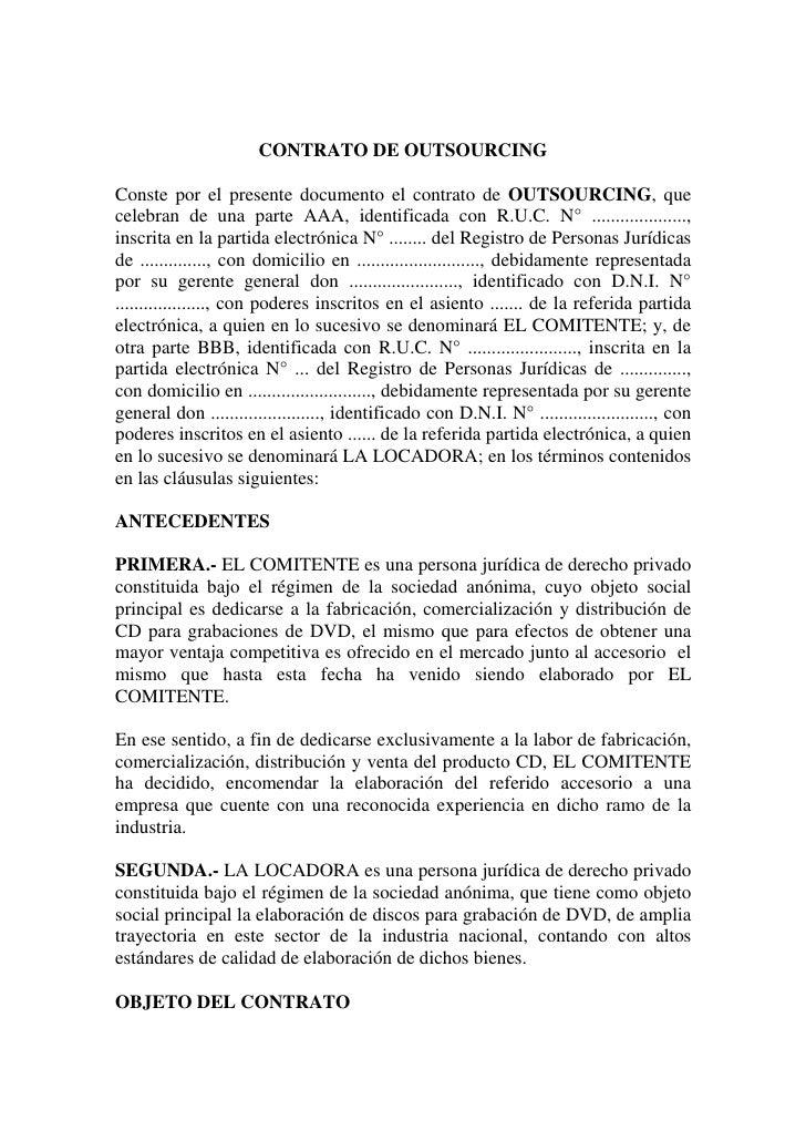Ejemplo de contrato de outsourcing for Contrato documento