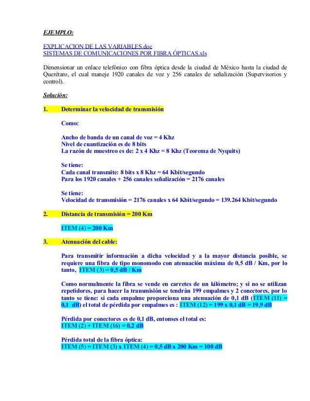 EJEMPLO: EXPLICACION DE LAS VARIABLES.doc SISTEMAS DE COMUNICACIONES POR FIBRA ÓPTICAS.xls Dimensionar un enlace telefónic...