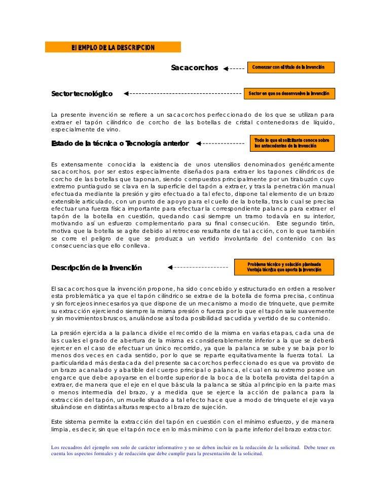 EJEMPLO DE LA DESCRIPCION                                                        Sacacorchos                         Comen...