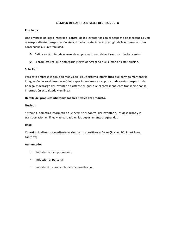 EJEMPLO DE LOS TRES NIVELES DEL PRODUCTO  Problema:  Una empresa no logra integrar el control de los inventarios con el de...