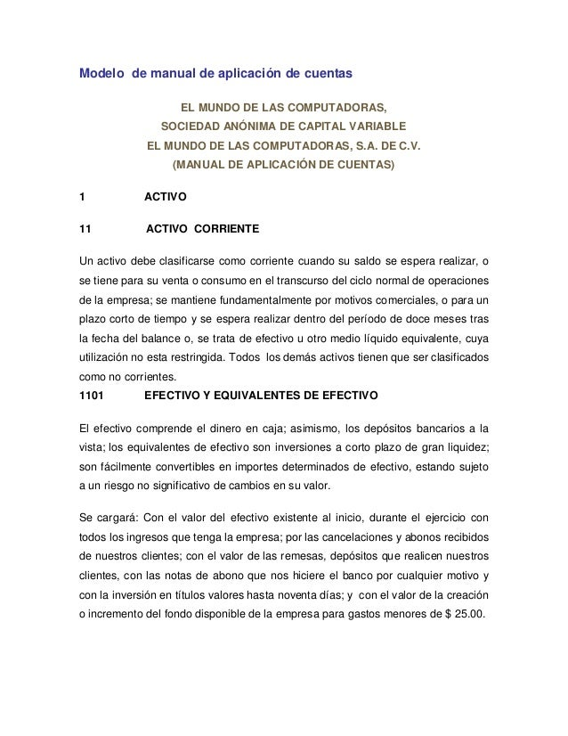 Modelo de manual de aplicación de cuentasEL MUNDO DE LAS COMPUTADORAS,SOCIEDAD ANÓNIMA DE CAPITAL VARIABLEEL MUNDO DE LAS ...