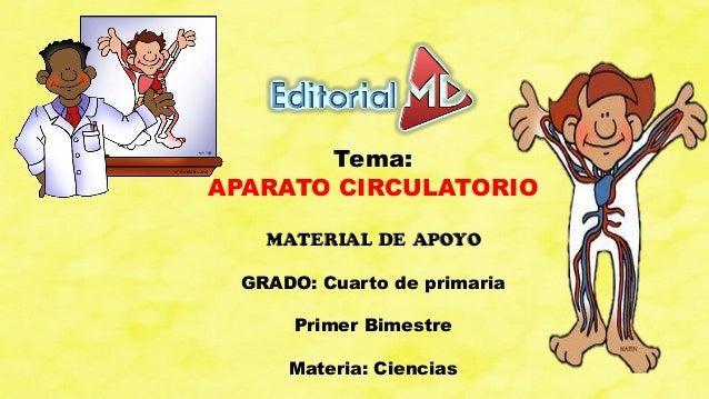 Tema: APARATO CIRCULATORIO MATERIAL DE APOYO GRADO: Cuarto de primaria Primer Bimestre Materia: Ciencias