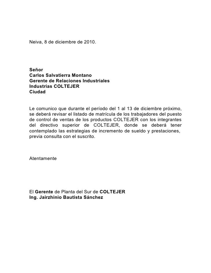 Neiva, 8 de diciembre de 2010.SeñorCarlos Salvatierra MontanoGerente de Relaciones IndustrialesIndustrias COLTEJERCiudadLe...