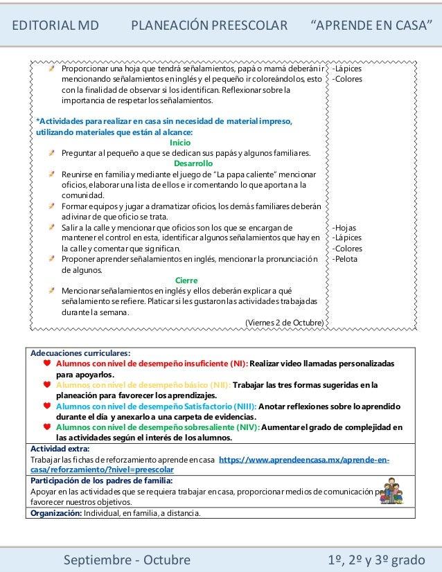 """EDITORIALMD PLANEACIÓN PREESCOLAR """"APRENDE EN CASA"""" Septiembre - Octubre 1º, 2º y 3º grado Proporcionar una hoja que tendr..."""