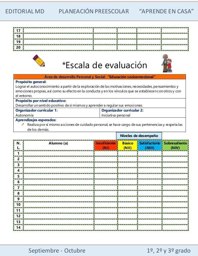 """EDITORIALMD PLANEACIÓN PREESCOLAR """"APRENDE EN CASA"""" Septiembre - Octubre 1º, 2º y 3º grado 17 18 19 20 *Escala de evaluaci..."""