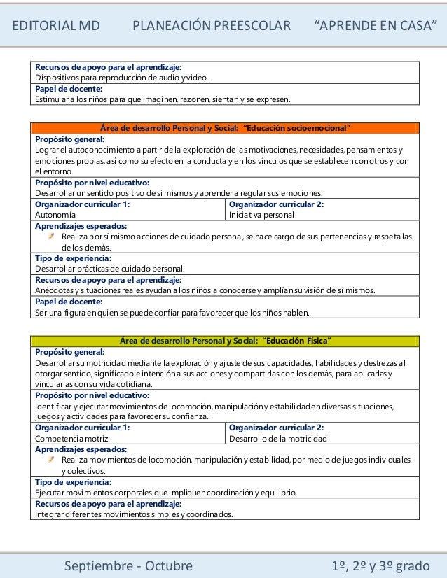 """EDITORIALMD PLANEACIÓN PREESCOLAR """"APRENDE EN CASA"""" Septiembre - Octubre 1º, 2º y 3º grado Recursos de apoyo para el apren..."""