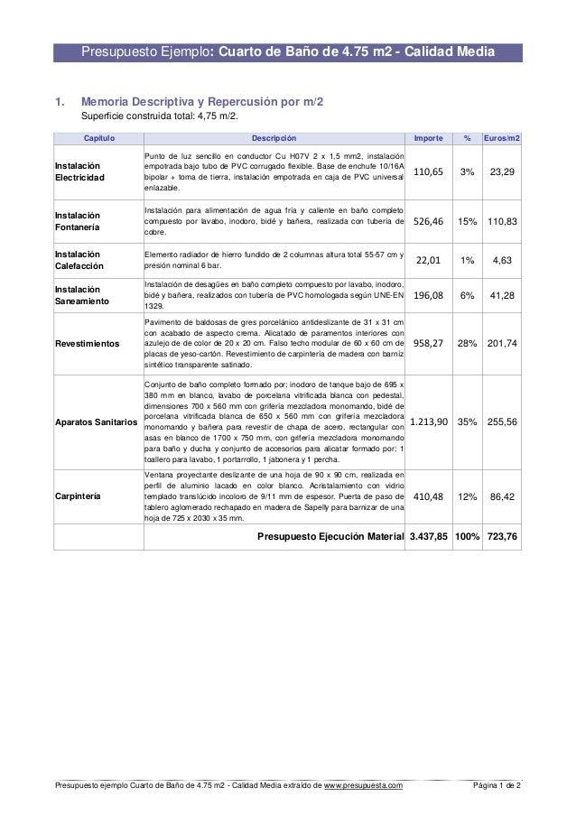 Charming Presupuesto Ejemplo Cuarto De Baño De 4.75 M2   Calidad Media Extraído De  Www.presupuesta ...