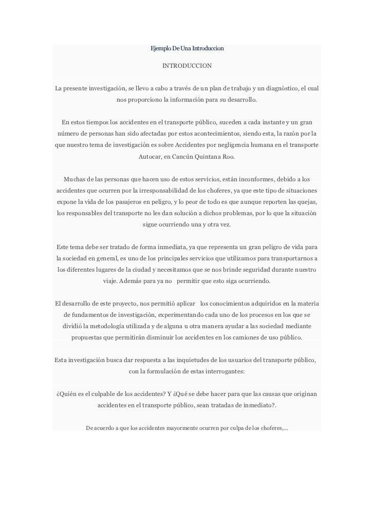 Ejemplo De Una Introduccion                                         INTRODUCCIONLa presente investigación, se llevo a cabo...
