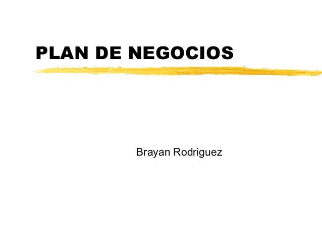 PLAN DE NEGOCIOS Brayan Rodriguez