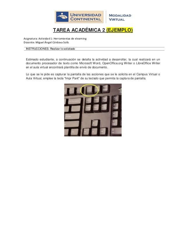 TAREA ACADÉMICA 2 (EJEMPLO) Asignatura: Actividad 1: Herramientas de elearning Docente: Miguel Ángel Córdova Solís INSTRUC...