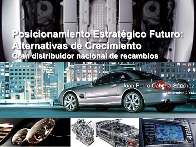 Posicionamiento Estratégico Futuro:Alternativas de CrecimientoGran distribuidor nacional de recambios                     ...