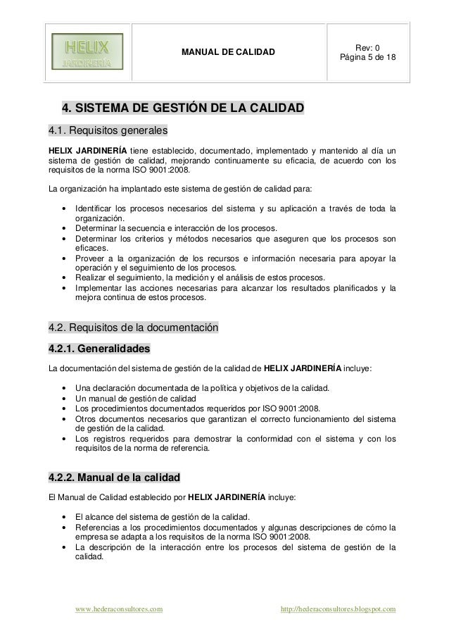 manual de calidad segun iso 9001 version 2015 ejemplo