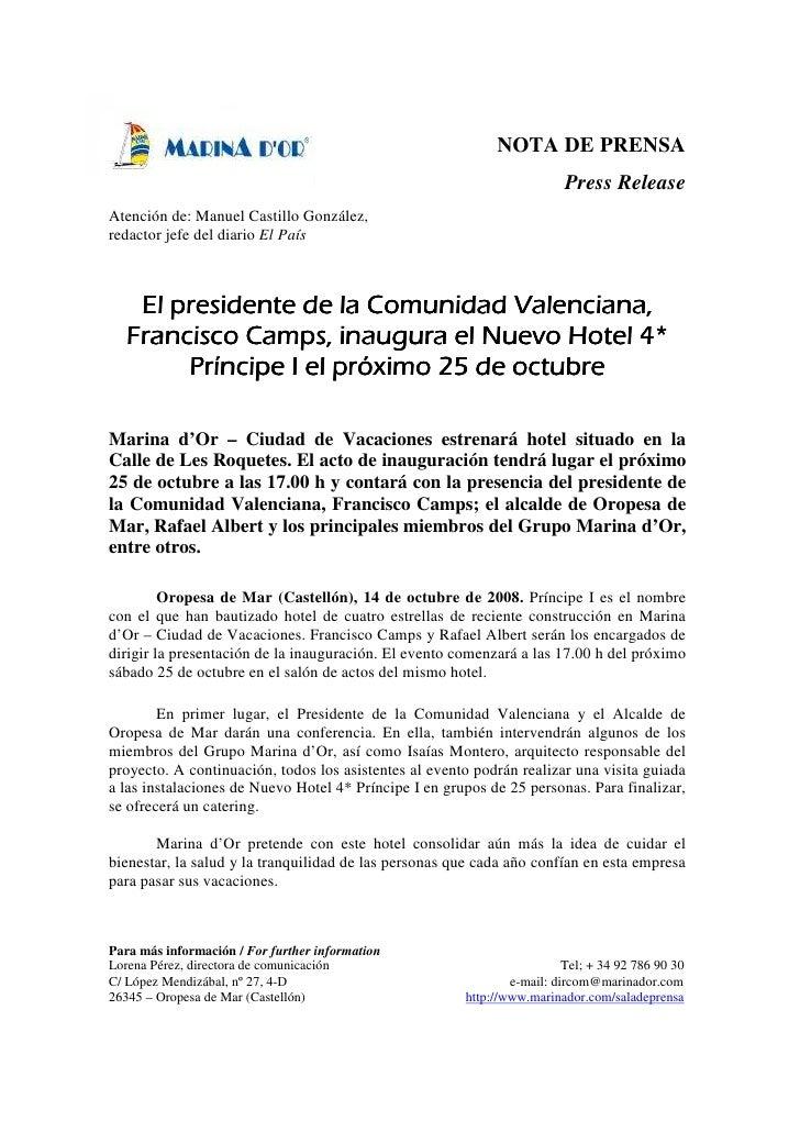 NOTA DE PRENSA                                                                         Press ReleaseAtención de: Manuel Ca...
