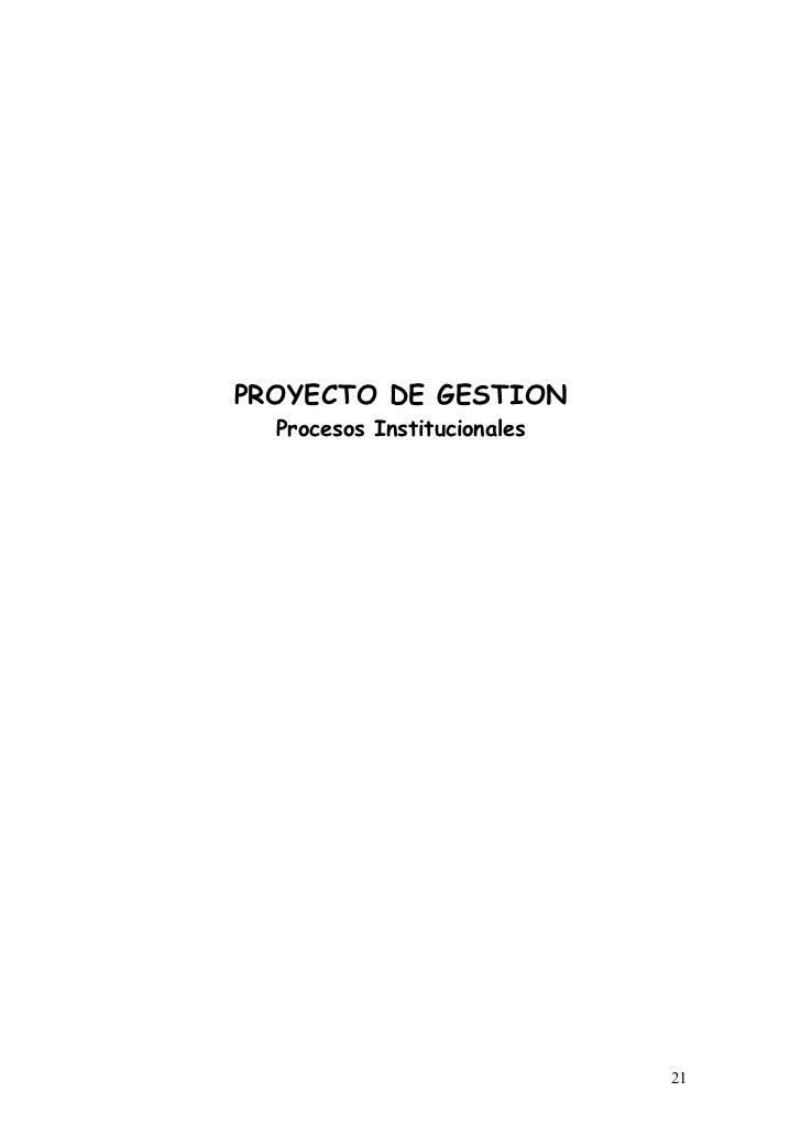 PROYECTO DE GESTION  Procesos Institucionales                             21